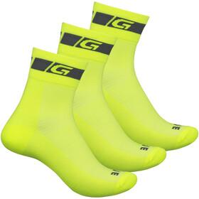 GripGrab Hi-Vis Regular Cut Socks 3-Pack yellow hi-vis